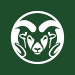 white ram head CSU logo on green background