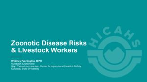 Teal background with white title Zoonotic Disease Risks and Livestock Workers